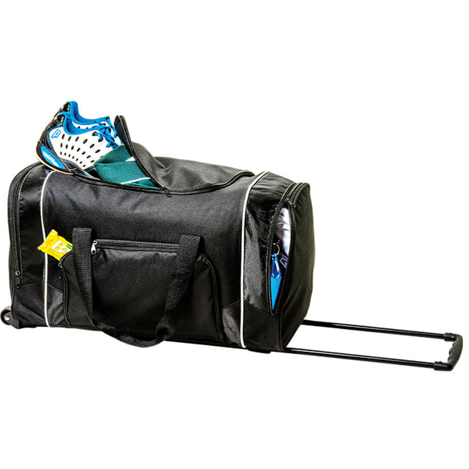 Rolling Duffel with Zippered Front Pocket is made using 600D. The features include a extendable handle, trolley wheels, foot stands, a side carry handle, adjustable/ removable shoulder strap, 4 front zippered pockets, carry handles and durable 600D.