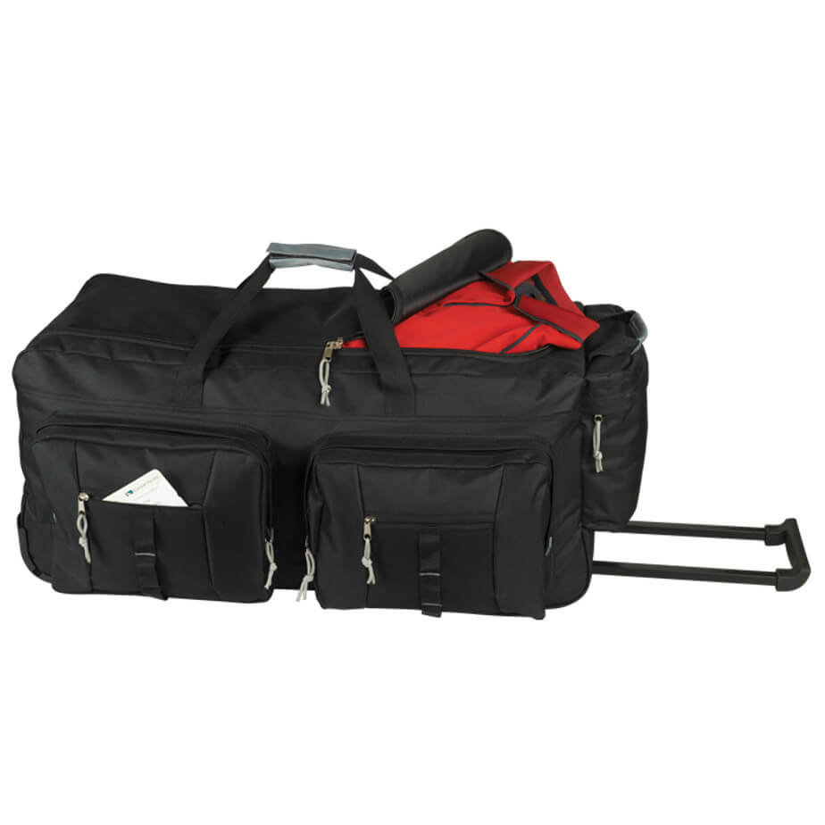 The Black Dual Front Pocket Rolling Travel Duffel Is Made From 600D Ripstop. The Features Include A Large Main Compartment, A Side Zippered Pocket, An Extendable Handle, Trolley Wheels, Interlocking Zip Pullers And 2 Front Zippered Pockets.