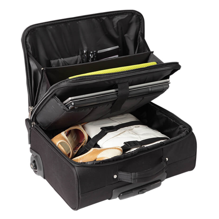 The Business Trolley Includes An Extendable Handle, Padded Carry Handle, Trolley Wheels, Foot Stands, Front Zippered Main Compartment, Buckle Straps And A Padded Laptop Compartment.