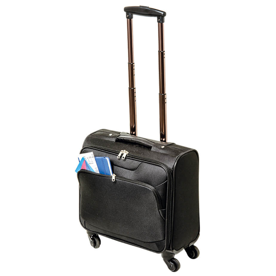 The 600D Laptop Trolley Bag With Four Wheels Include A Zippered Main Compartment With Padded Laptop Pocket, Interlocking Zip Pullers, An Extendable Handle, A Carry Handle And A Front Zippered Pocket.