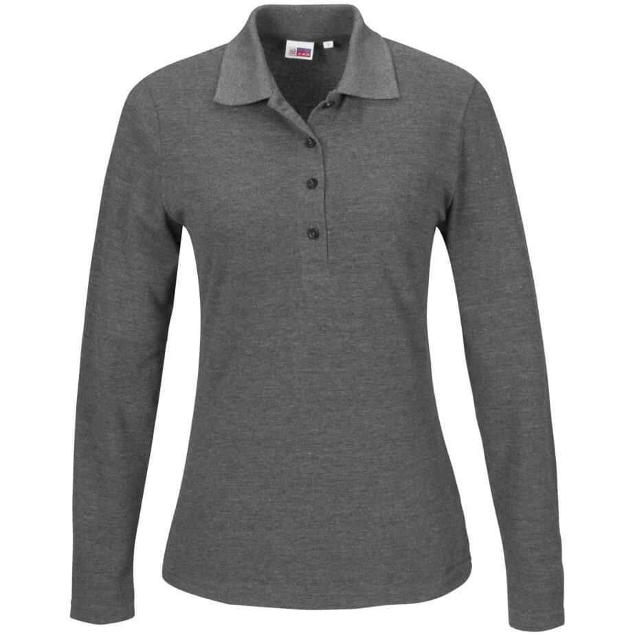 Grey Ladies Long Sleeve Elemental Golf Shirt Is Made From Polyester And Cotton Pique.