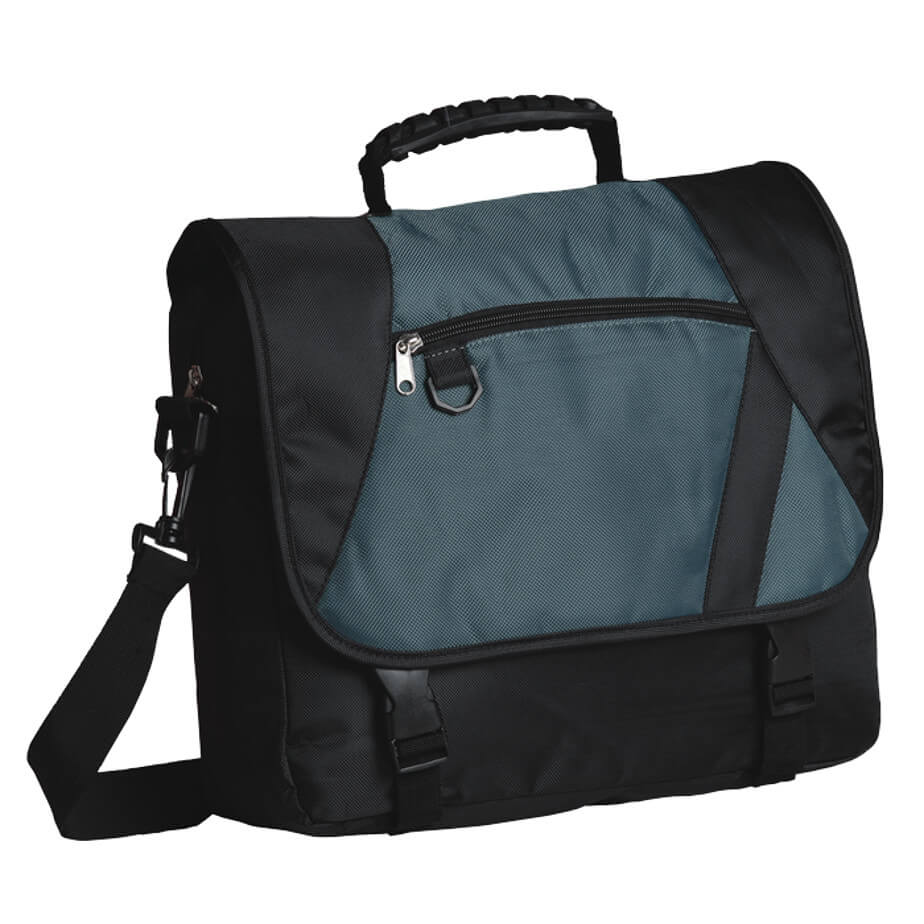 The Black/Grey Charter Laptop Bag Includes An Adjustable/Removable Shoulder Strap With A Rubberized Carry Handle.