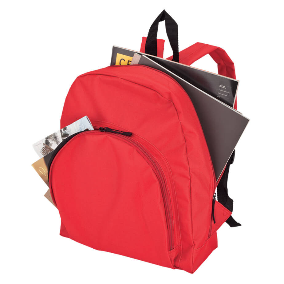 The Red Backpack With Arched Front Pocket-600D Includes A Main Zippered Compartment, Carry Handle, Padded Adjustable Shoulder Straps, Front Pocket And Durable 600D Construction.