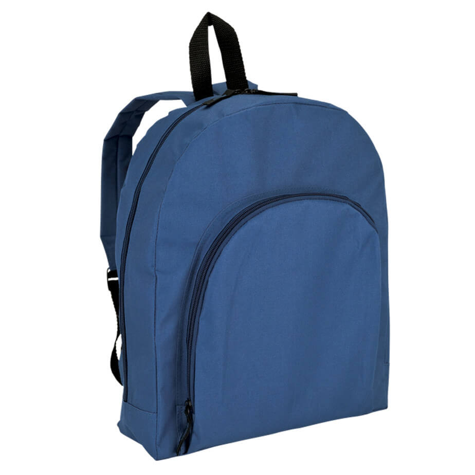 The Navy Backpack With Arched Front Pocket-600D Includes A Main Zippered Compartment, Carry Handle, Padded Adjustable Shoulder Straps, Front Pocket And Durable 600D Construction.