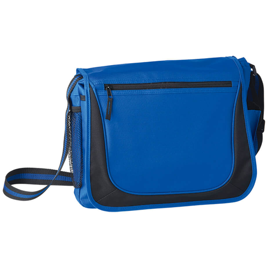 The Blue Messenger Bag With Coloured Stripe Strap Is Made From 600D Polyester. The Features Include A Large Main Compartment With Two Front Pockets, Side Mesh Pockets, A Cell Phone Pouch, A Front Flap With Zippered Pockets And Fabric Zip Pullers.