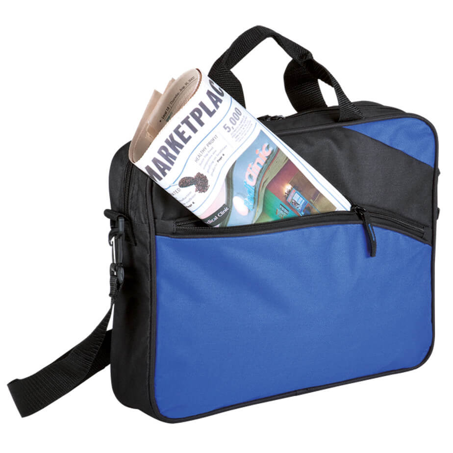 The Blue Conference Brief Bag- 600D Construction Features Removable/Adjustable Shoulder Straps, Carry Handles, A Zippered Main Compartment With A Zippered Front Pocket.
