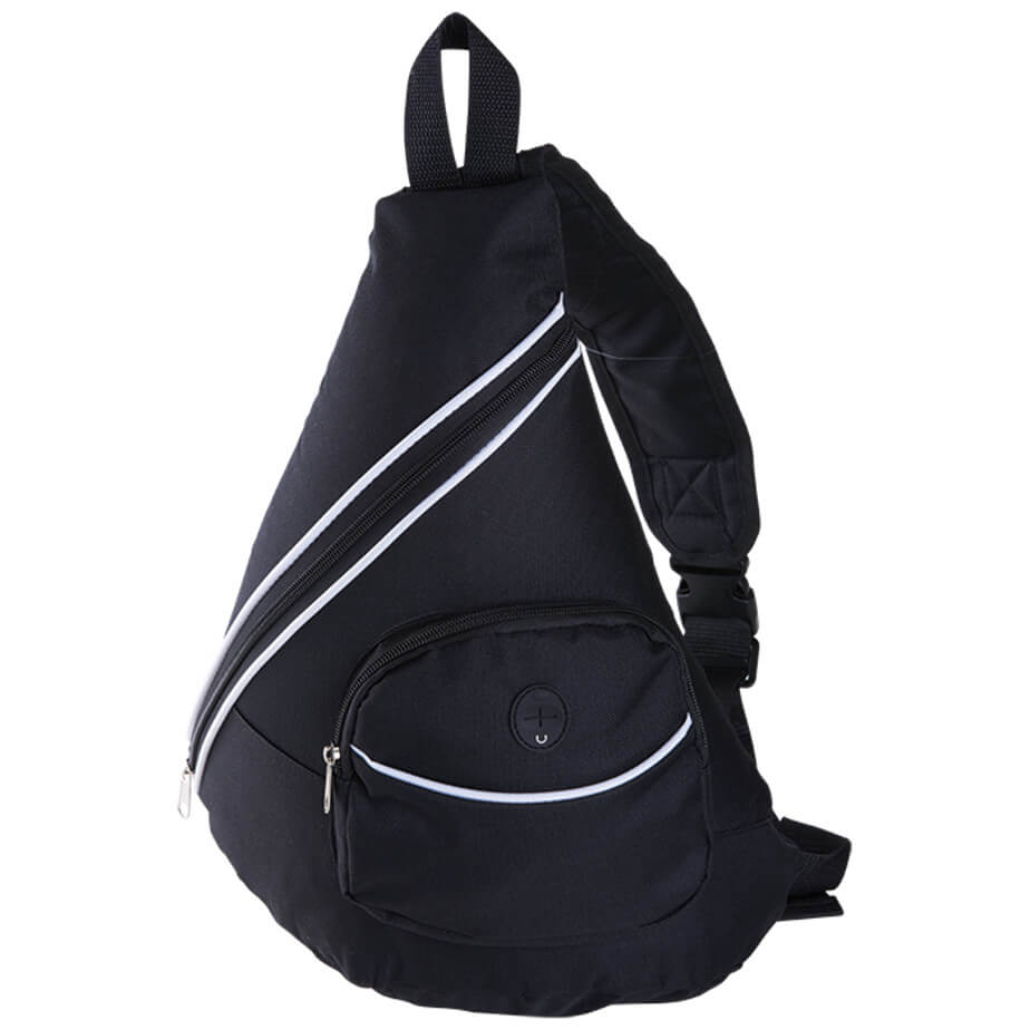 The Black Stripe Design Sling Bag With Zippered Front Pocket Is Made From 600D/PVC. The Features Include A Main Zippered Compartment, Front Zippered Compartment With A Media Hole, Carry Handle, Padded Adjustable Shoulder Strap And Contrast Piping Trims.