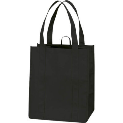 The Eco-Friendly Shopper is made from non-woven PP with extra wide gussets and a bottom stiffener. In the colour black that has a hanging loop and long carry handles.