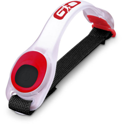 The Lodestar Active Armband Light in the colour red is made from silicone with 2 light modes and it has an adjustable armband