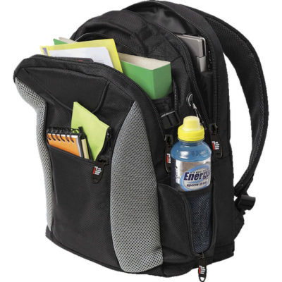 The Biz Laptop Backpack features a small zip front pocket, two separate zip compartments, a mesh side pocket with zip and a media hole.