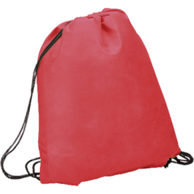 The Drawstring Bag Non-Woven is a red non-woven eco friendly PP drawstring bag with a main compartment, cinch top and reinforced metal grommets