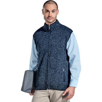 The Mens Westfield Bodywarmer is a navy 280g 100% polyester mélange bodywarmer with a funnel neck collar, tonal top-stitching at front yoke, front and back body panels, side pockets with a zip closure, elasticated binding at the armhole, collar and hem, inner neck binding and a front invered nylon zip with metal zip puller