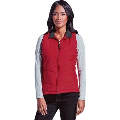 The Ladies Bodywarmer is a red 85g 100% nylon feminine shaped bodywarmer with a funnel neck collar, inner fleece, inseam pockets with a zip opening, v-shaped quilting on front and back and is fully padded and lined