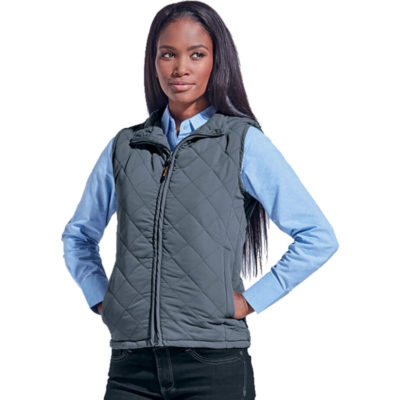 The Ladies Michigan Bodywarmer Is A Steel Grey Lightweight 100% Brushed Polyester Padded Bodywarmer Thats Fully Lined And With A Diamond Quilted. Features Welt Pockets, Funnel Neck Collar With Binding, Bound Finishing On Armholes And Concealed Front Zip With Woven Zip Puller