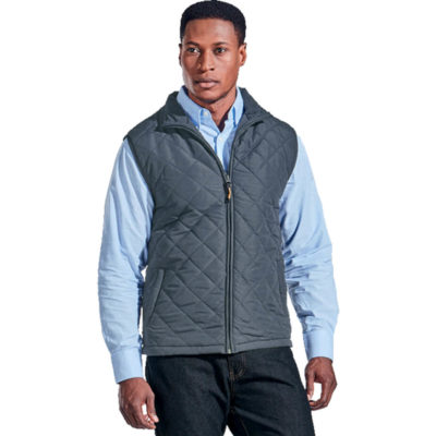 The Mens Michigan Bodywarmer Is A Steel Grey Lightweight 100% Brushed Polyester Padded Bodywarmer Thats Fully Lined And With A Diamond Quilted. Features Welt Pockets, Funnel Neck Collar With Binding, Bound Finishing On Armholes And Concealed Front Zip With Woven Zip Puller
