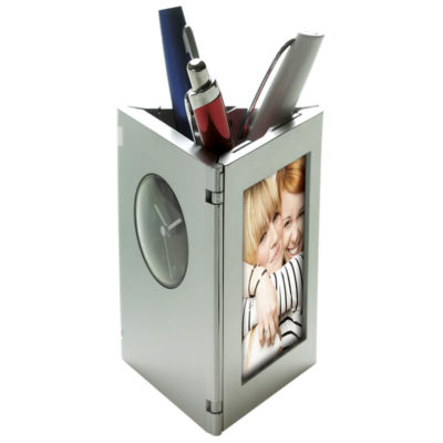 Folding Photo Frame, Clock and Pen Holder Features Include A Foldable Design, Analogue Clock, 2 Photo Frames And Matte Silver Finish.