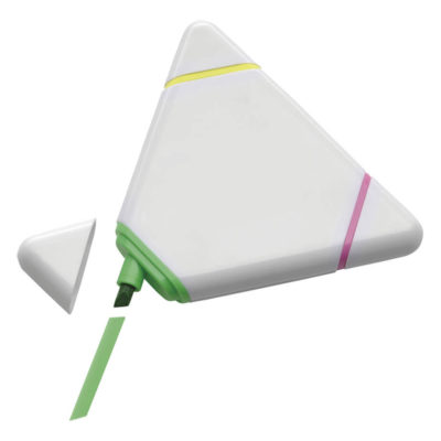 Triangular Shaped Highlighter Features Includes A 3 In 1 Triangular Shaped Design And 3 Colourful Highlighters. It Is Available In White.