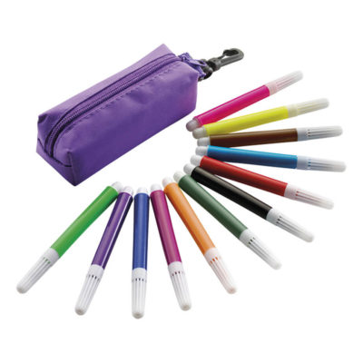 The 12 Piece Felt Tip Pen Set In Zippered Pouch Features 12 Small Plastic Felt Trip Pens Packaged In A 70D Polyester Zippered Pouch With A Plastic Pouch Clip Attached.