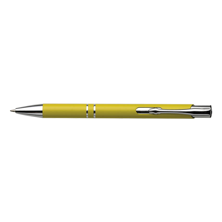 The Yellow Aluminium Ballpoint Pen With Arrow Shaped Clip Features Include An Aluminium Ballpoint Pen, Plunge Action Mechanism, 2 Chrome Ring Design, Silver Tip, Arrow Shaped Metal Clip And Blue Ink.