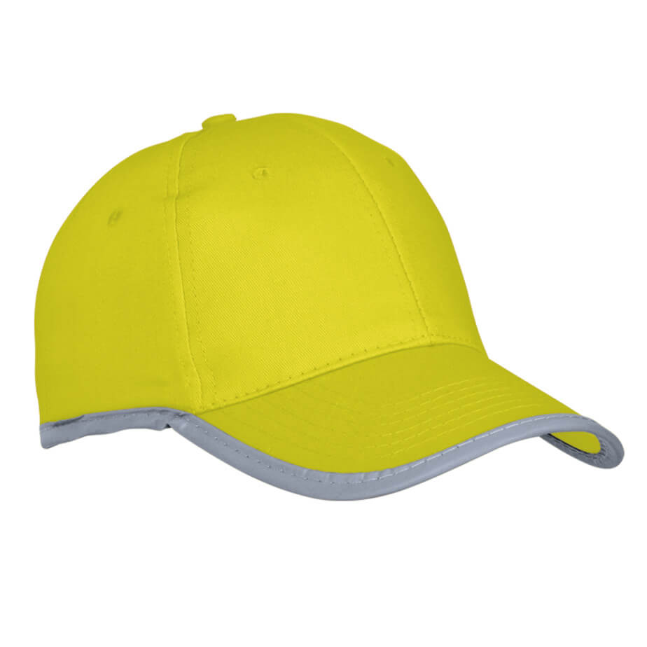 The Yellow 6 Panel Reflective Binding Cap Features Pre-Curved Peak, Velcro Closure, Reflective Binding And Safety Application.