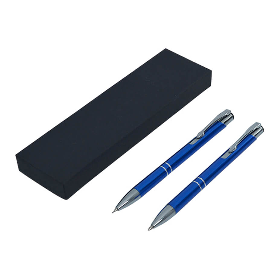 The Blue Armada Metallic Pen And Pencil Set Is Made From Metal Barrel. The Features Include A High Gloss Metal Pen And Pencil Set, A Metal Barrel With Contrasting Silver Tip And Clip. The Pen Contains Black German Ink.