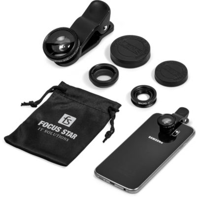The Koolpix Mobile Phone Lens Kit Is Made From ABS, Acrylic.The Kit Consists Of A Fish-Eye Lens, A Macro Lens And A Wide Angle Lens Presented In A Microfibre Pouch And Presentation Box.