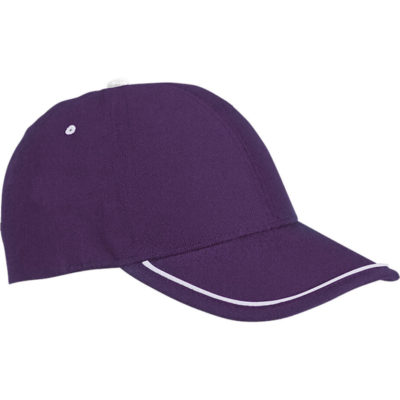 The purple-white 6 Panel Cap is made from 100% polyester. The features include a structured 6 panel, self fabric velcro strap with a plastic ring closure, pre-curved peak and a low profile.