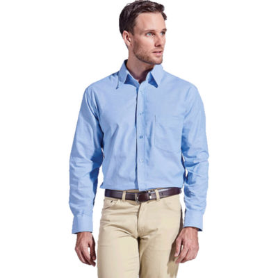 The Mens Oxford Lounge Long Sleeve has double button mitered cuffs with a button through gauntlet, a button up collar and a front patch pocket. Made from cotton rich two-tone fabric in a sky blue colour.