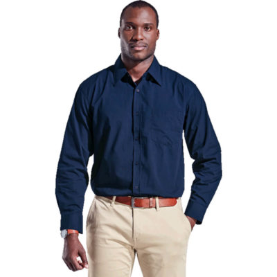 The Men's Basic Poly Cotton Lounge Long Sleeve is made from poly cotton fabric with a raised collar, a constructed button stand and a double-layer drop-shoulder yoke. Available in the colour navy.