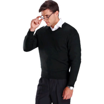 The Mens Basic Long Sleeve Jersey is a 100% acrylic fabric 10 gauge needle knit with a double fold neck and hem and double ribbed cuff trims with a two ridge finish