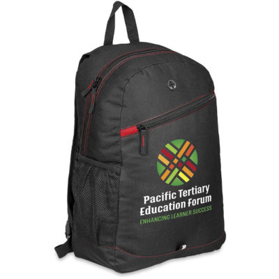 The Amazon Backpack with red detailing provides you with many branding options, made from 600 D material