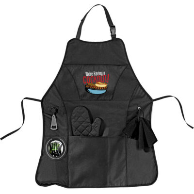 The Cookout BBQ Apron is a black 600D apron with a neck loop and tie backs. features include mulitple front pockets, a retractable bottle opener, cooler pouch to store a beverage and space to hang a cloth