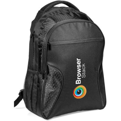 The Emporium Tech Backpack Is A Black 600D Bag And Includes A Main, Front And Smaller Front Zippered Compartment With Organisation Panels And Adjustable Shoulder Straps.