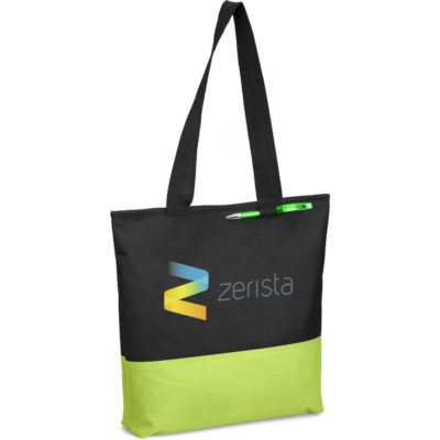 The Panache Conference Tote made from black 600D with a lime green insert panel, long hsoulder straps, pen loop and one main compartment