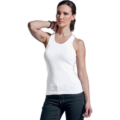 The Ladies Racer Back has a female shape made from stretchy fabric and double-needle finish on the hem.
