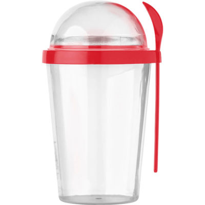 The Dual Compartment Breakfast Mug with Spoon is made from plastic with a capacity of 450ml. It features a red breakfast mug with a separate compartment and a matching colour spoon