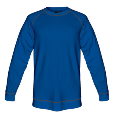 The Mens Alpine Sweater in Royal Blue has contrast stitching along the seams, hem and sleeve hem.