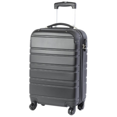 The Black Hard Shell Cabin Bag Is Made From ABS. The Features Include An Extendable Handle, Main Zippered Area With Buckle Straps, Inner Mesh Pocket, Interlocking Combination lock, Turning Wheels And A Rubberized Carry Handle.