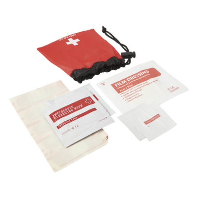 The 11 Piece First Aid Kit In Drawstring Pouch Has A Pre-Printed First Aid Kit Logo. The Kit Includes 5 Plasters, 2 Alcohol Pads, 1 Cleaning Wipe, 1 Anti-Septic Wipe And 1 Film Dressing.