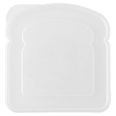The White Sandwich Shaped Lunch Box Is Made From Plastic. The Features Include A Box Shaped Like A Sandwich.