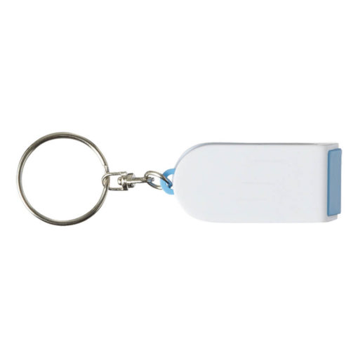 3 in 1 Keychain with Mobile Phone Holder and Screen Cleaner Features Include A Key Holder, A Mobile Phone Holder And Screen Cleaner.