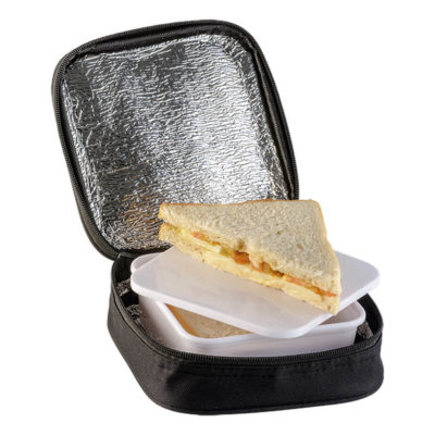 The Black Lunch Tin And Cooler Bag Set Is Made From 600D Polyester. The Features Include A Cooler And Lunch Box, Zippered Closure, PE Foam Inner And Foil Lining.