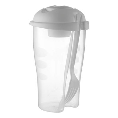 The White Salad Shaker With Salad Dressing Container And Fork Is Made From Plastic. The Features Include A Frosted Plastic Salad Shaker With A 900ml Capacity, A Plastic Fork And A Salad Dressing Container With Approximately 100ml Capacity.