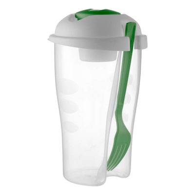 The Pale Green Salad Shaker With Salad Dressing Container And Fork Is Made From Plastic. The Features Include A Frosted Plastic Salad Shaker With A 900ml Capacity, A Plastic Fork And A Salad Dressing Container With Approximately 100ml Capacity.