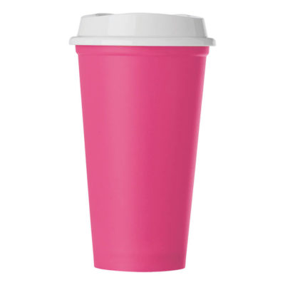 The Pink 520ml Plastic Mug With Lid Features Include A PP Mug.