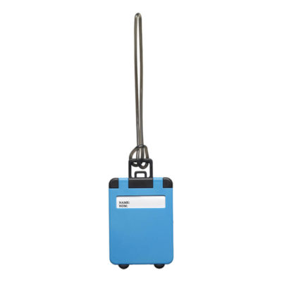 Suitcase Shaped Luggage Tag Is Made Using ABS And PVC. The Features Include A Plastic Luggage Tag In The Shape Of A Suitcase.