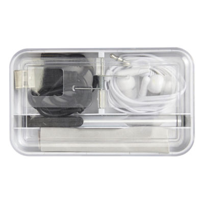 The White Mobile Phone Travel Set Features A Stylus, Microfibre Cloth, A USB Charging Cable And A Set Of Earphones Packaged In A Container With Multiple Compartments.