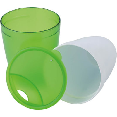 The 2 In 1 Plastic Mug has a 350ml inner mug and 370ml outer mug.