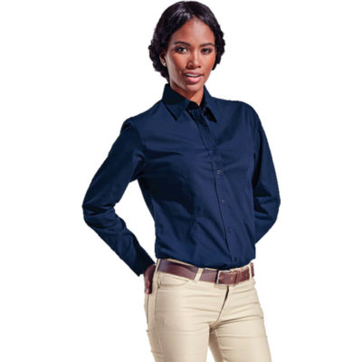 The Ladies Poly Cotton Blouse Long Sleeve Is A Navy Poly Cotton Long Sleeve Dress Shirt With A Feminine Fit. Features Include A Dropped Shoulder, Front And Back Waist Darts, Side Slits, Constructed Button Stand, Button Through Gauntlet, And A Shaped Hem