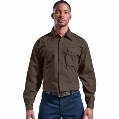 The Mens Outback Shirt is made from 100% cotton fabric with long sleeves and two front pockets that have a velcro closure flap. Other features include a full button down closure, eyelets on the pockets and buttons on the cuffs.